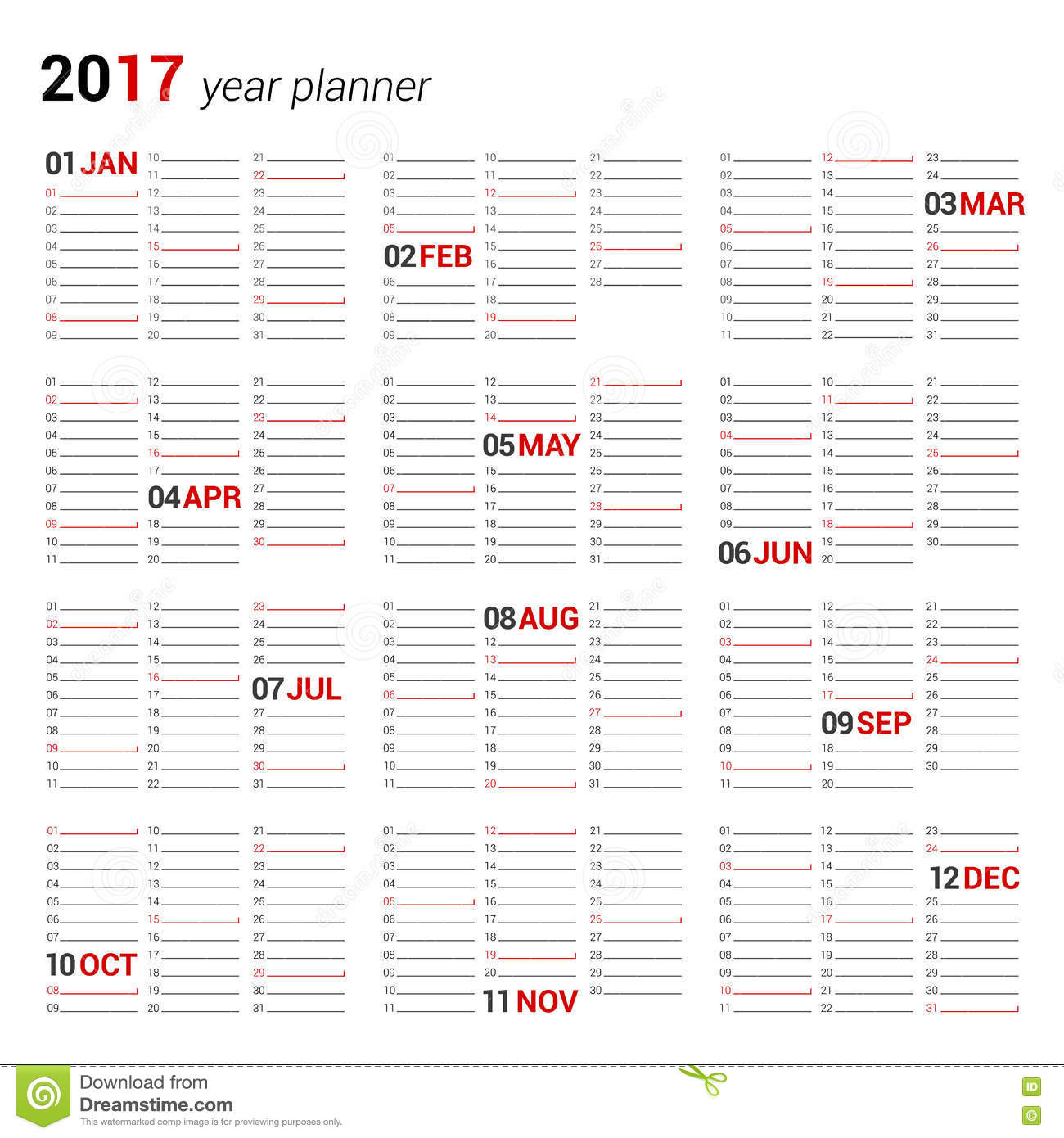 Yearly wall calendar planner template for 2017 year for Dreams by design planner