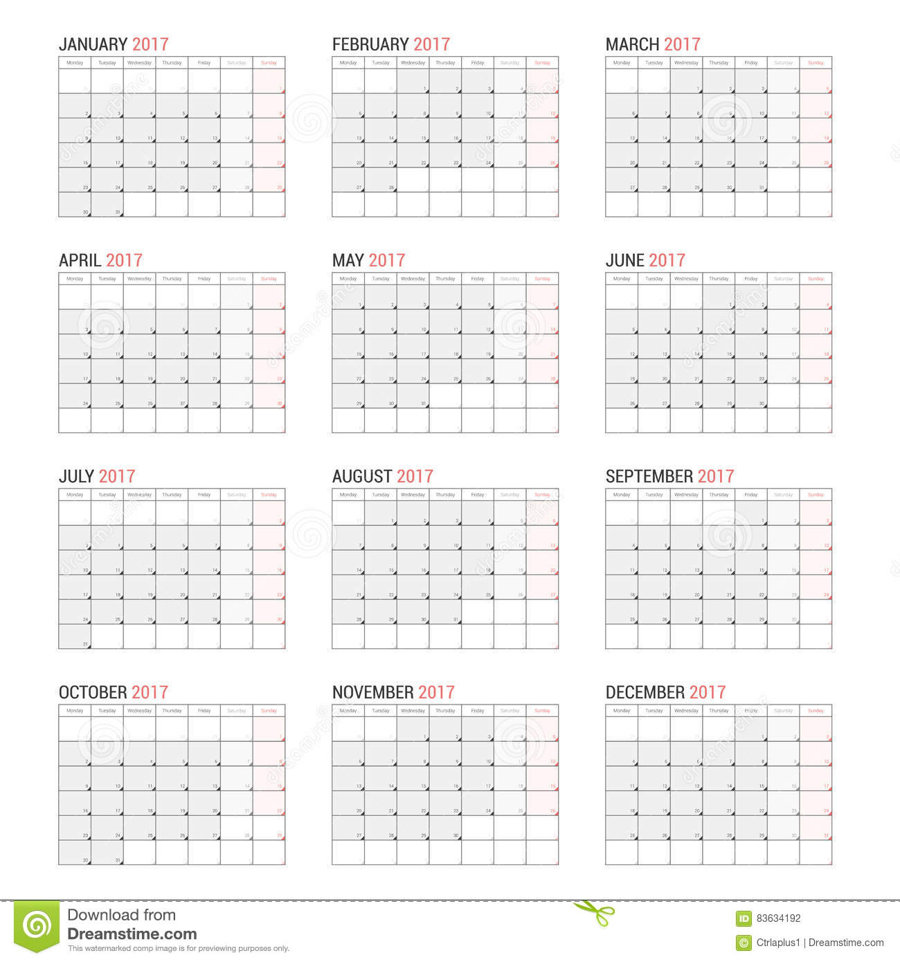 yearly wall calendar planner template for 2017 year vector illustration. Black Bedroom Furniture Sets. Home Design Ideas