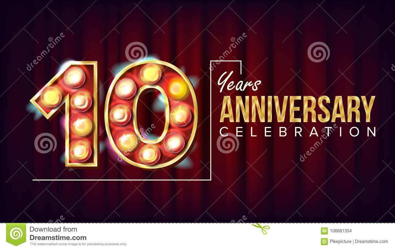 Th years anniversary greeting card lettering template with