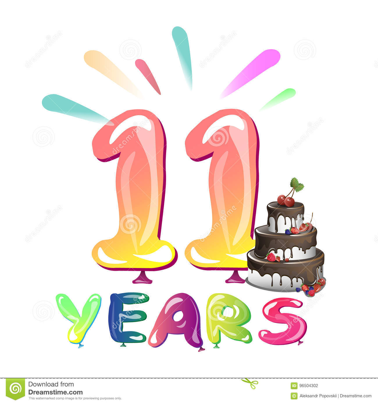11 Years Anniversary Celebration With Cake Stock Vector