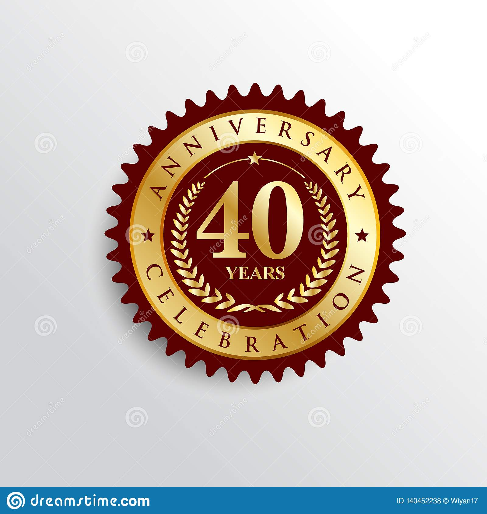 40 Years anniversary celebration Golden badge logo.