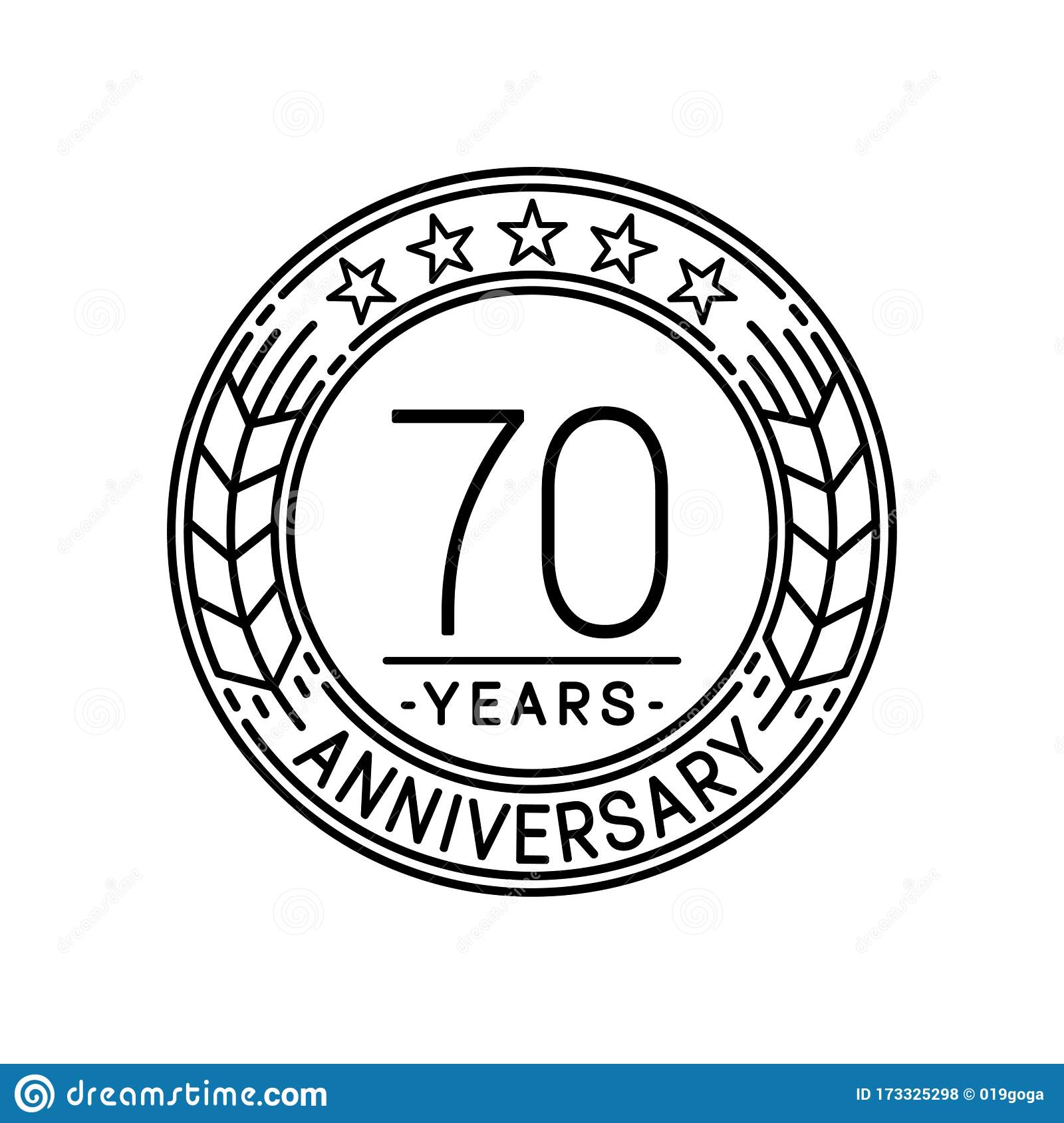 70 Years Anniversary Celebration Logo Template 70th Line Art Vector And Illustration Stock Vector Illustration Of Event Happy 173325298