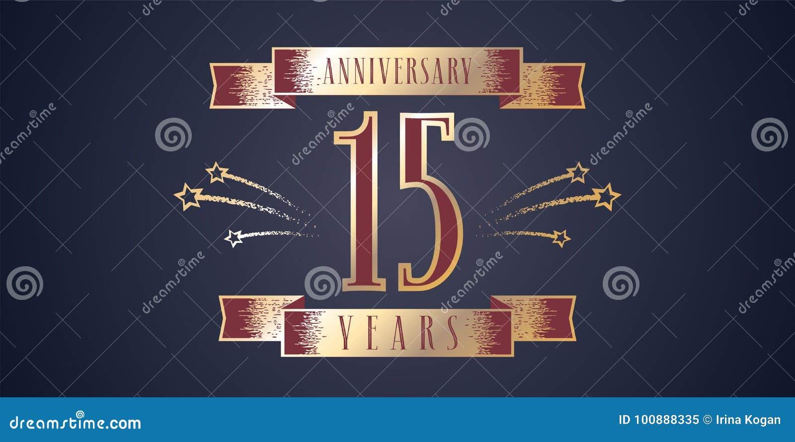 15 Years Anniversary Celebration Vector Icon Logo Stock Vector