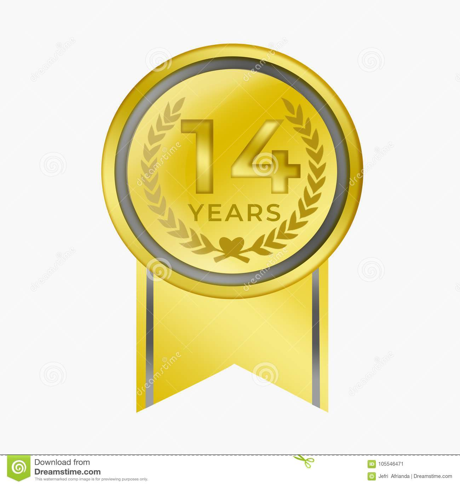 14 Years Anniversary Coin Gold Certification Congratulation Awar