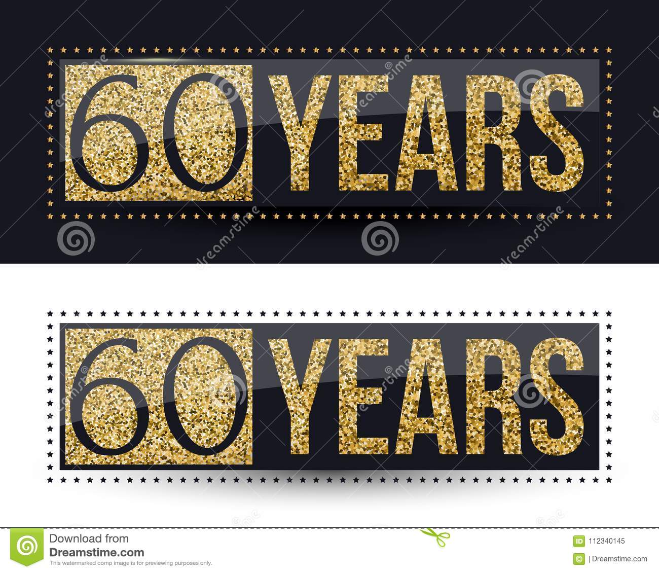 60 years anniversary gold banner on dark and white backgrounds.