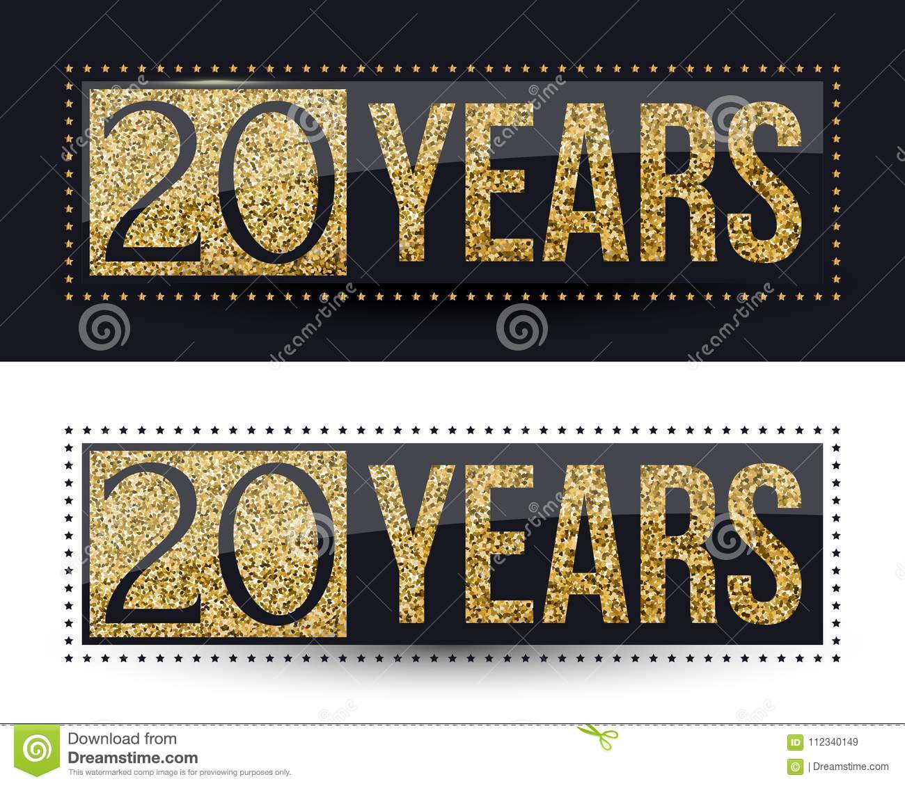 20 years anniversary gold banner on dark and white backgrounds.