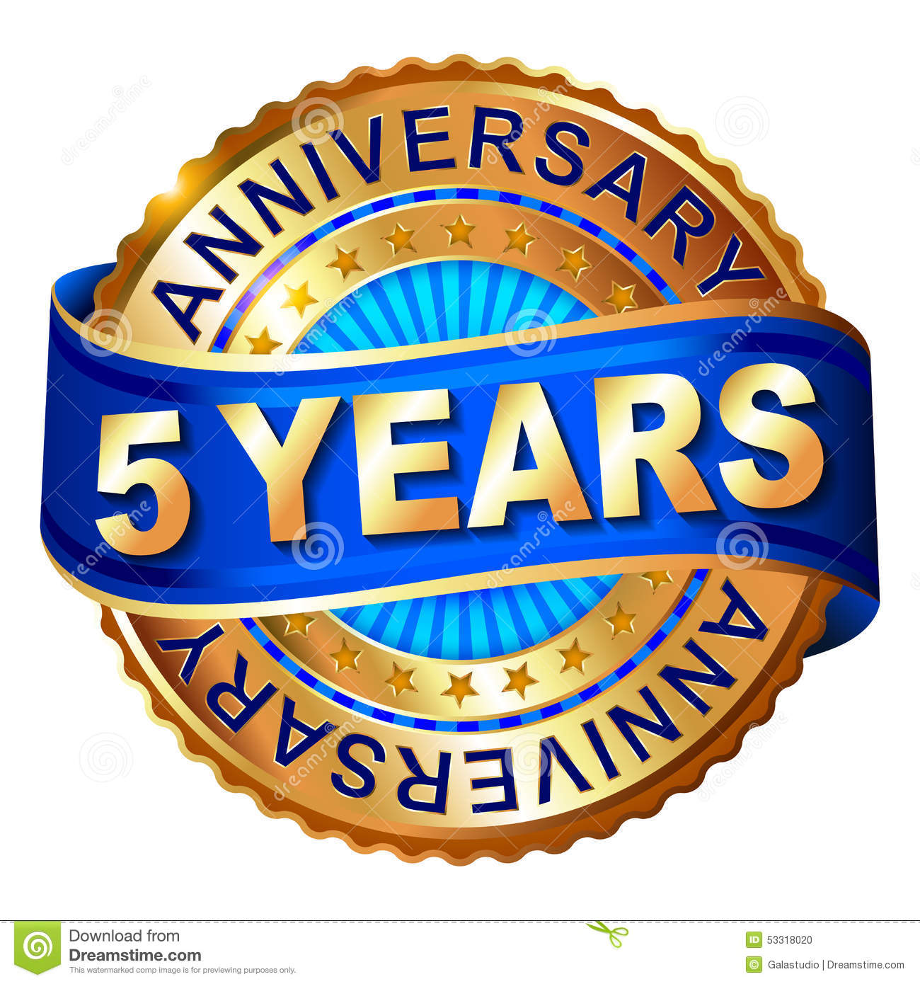 5 Years Anniversary Golden Label With Ribbon Stock Illustration