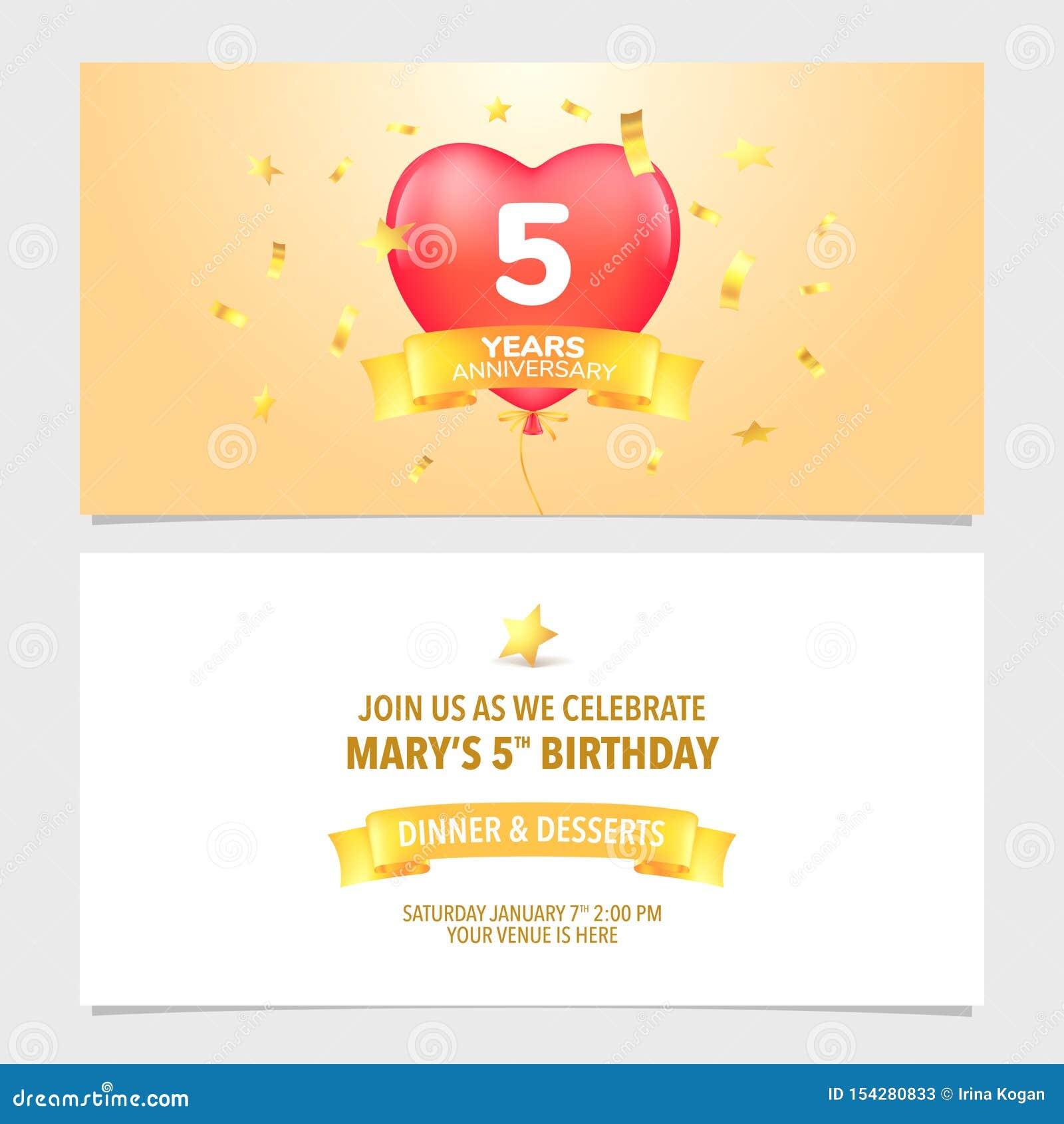 5 Years Anniversary Invitation Card Vector Illustration