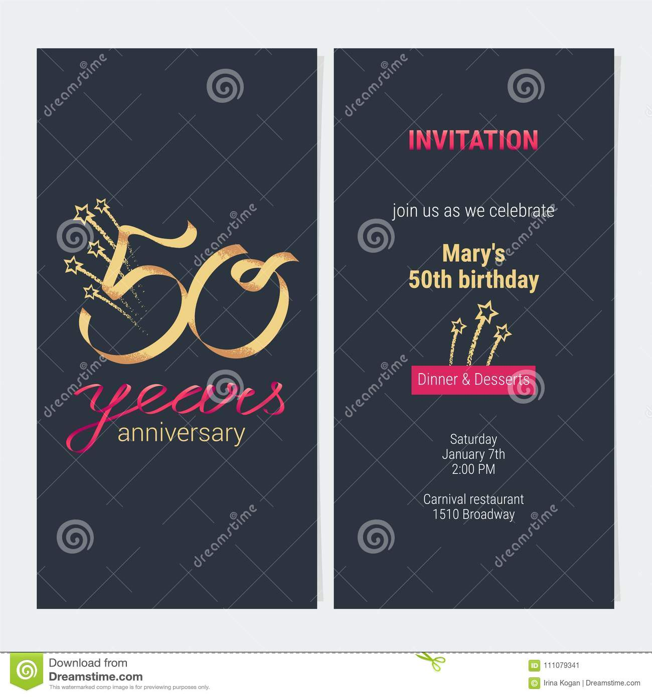 50 Years Anniversary Invitation To Celebrate Vector Illustration Design Template Element With Golden Number And Text For 50th Birthday Card Party Invite