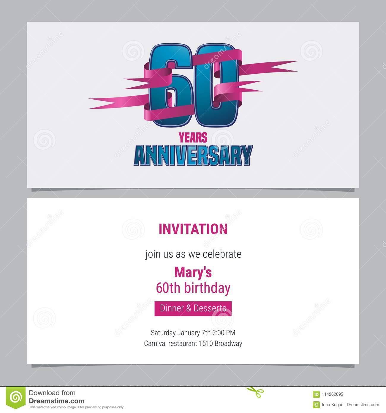 60 Years Anniversary Invitation To Celebration Vector Illustration ...