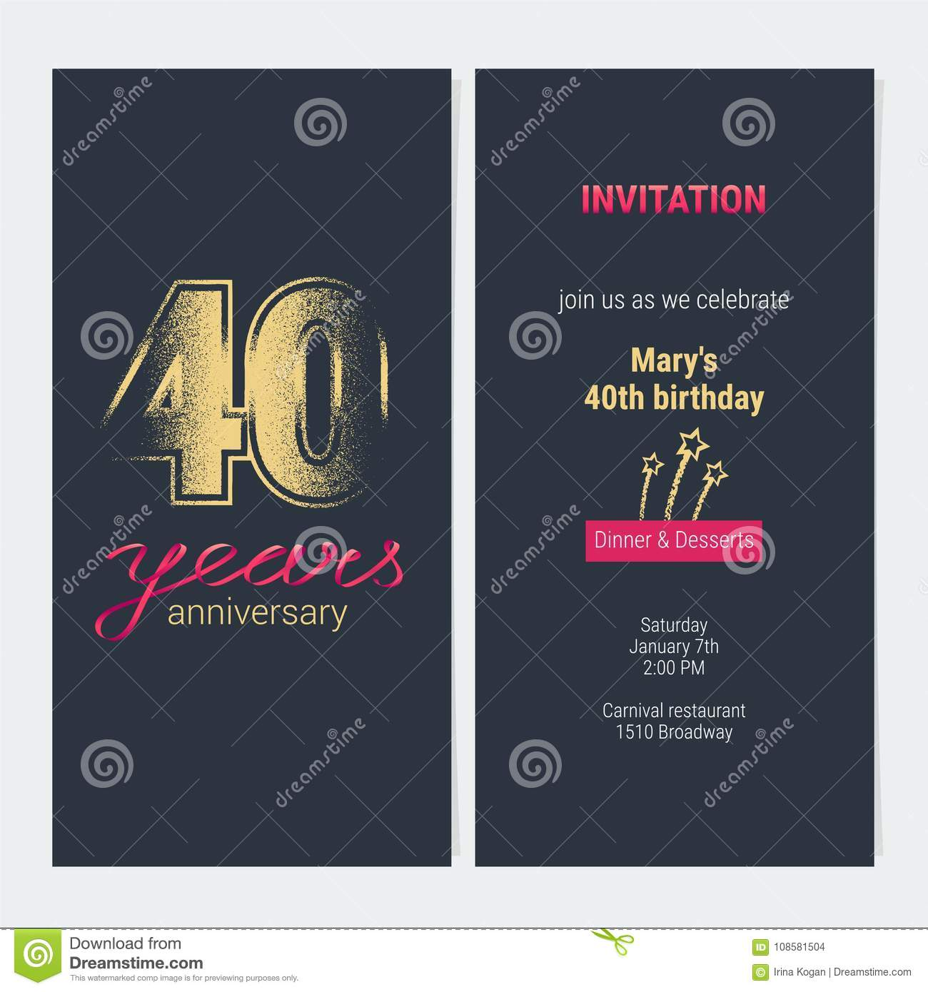 40 years anniversary invitation vector card stock vector