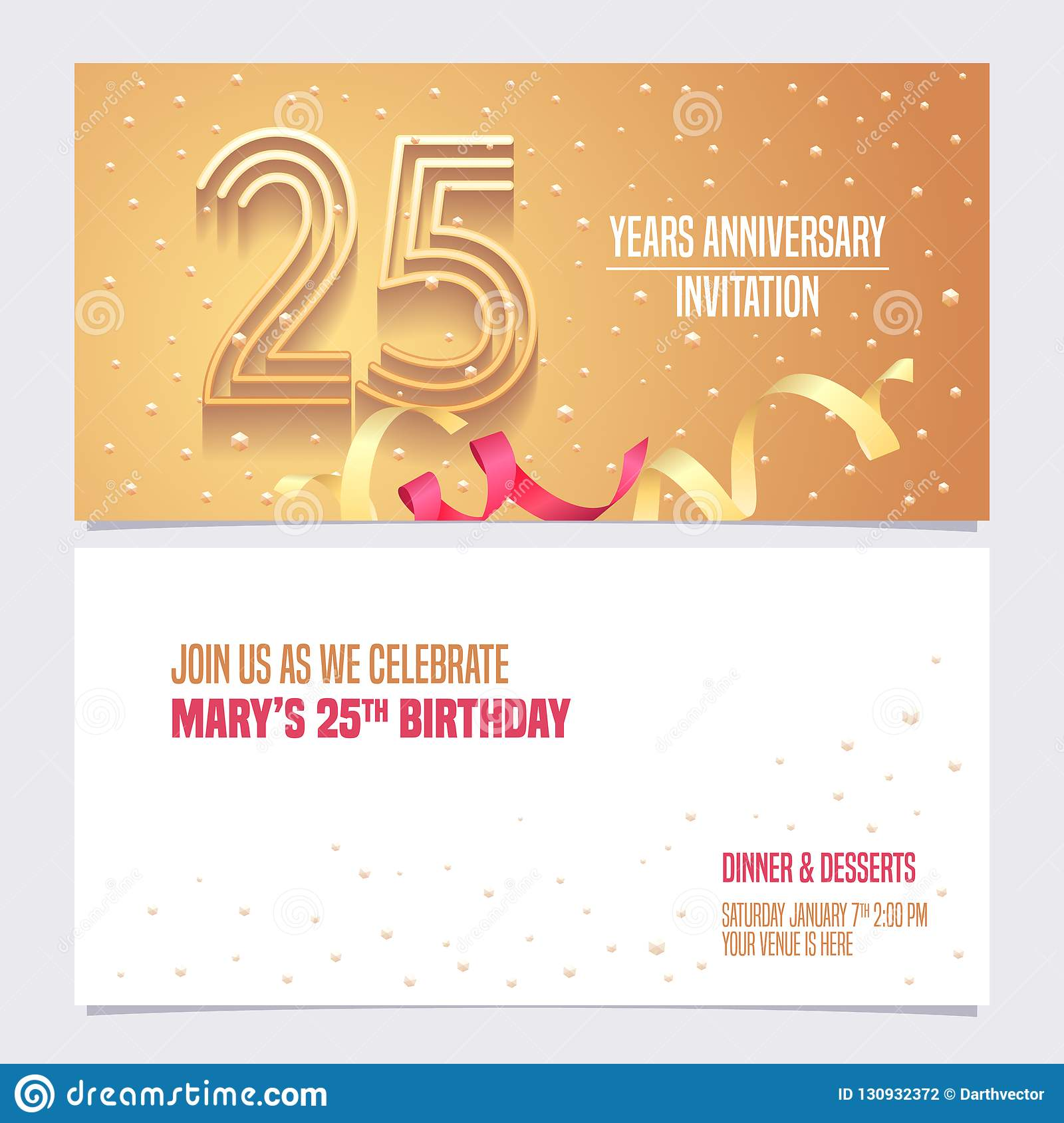 25 Years Anniversary Invitation Vector Illustration Design Element With Golden Abstract Background For 25th Birthday Card Party Invite