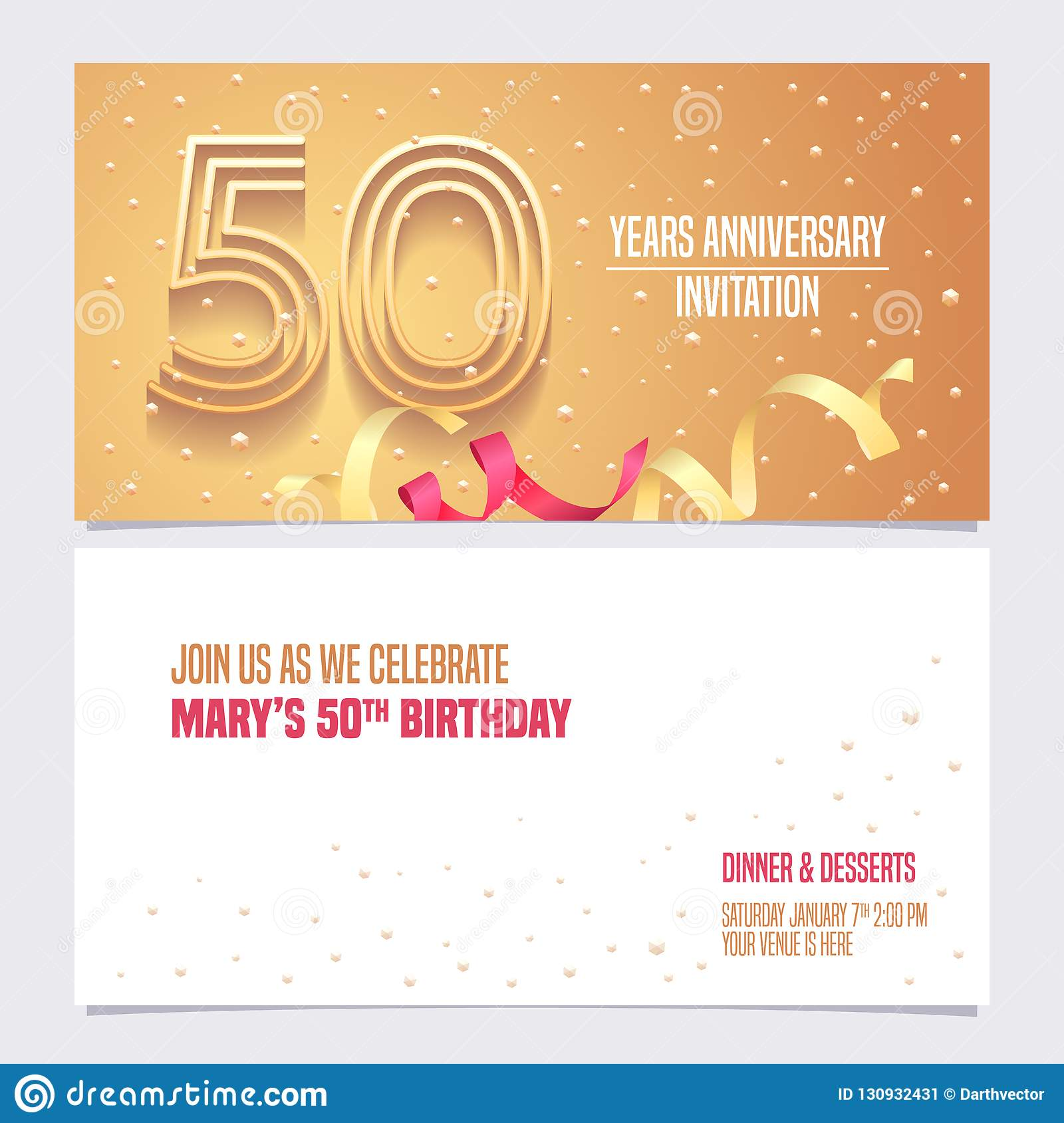 50 Years Anniversary Invitation Vector Illustration Design Element