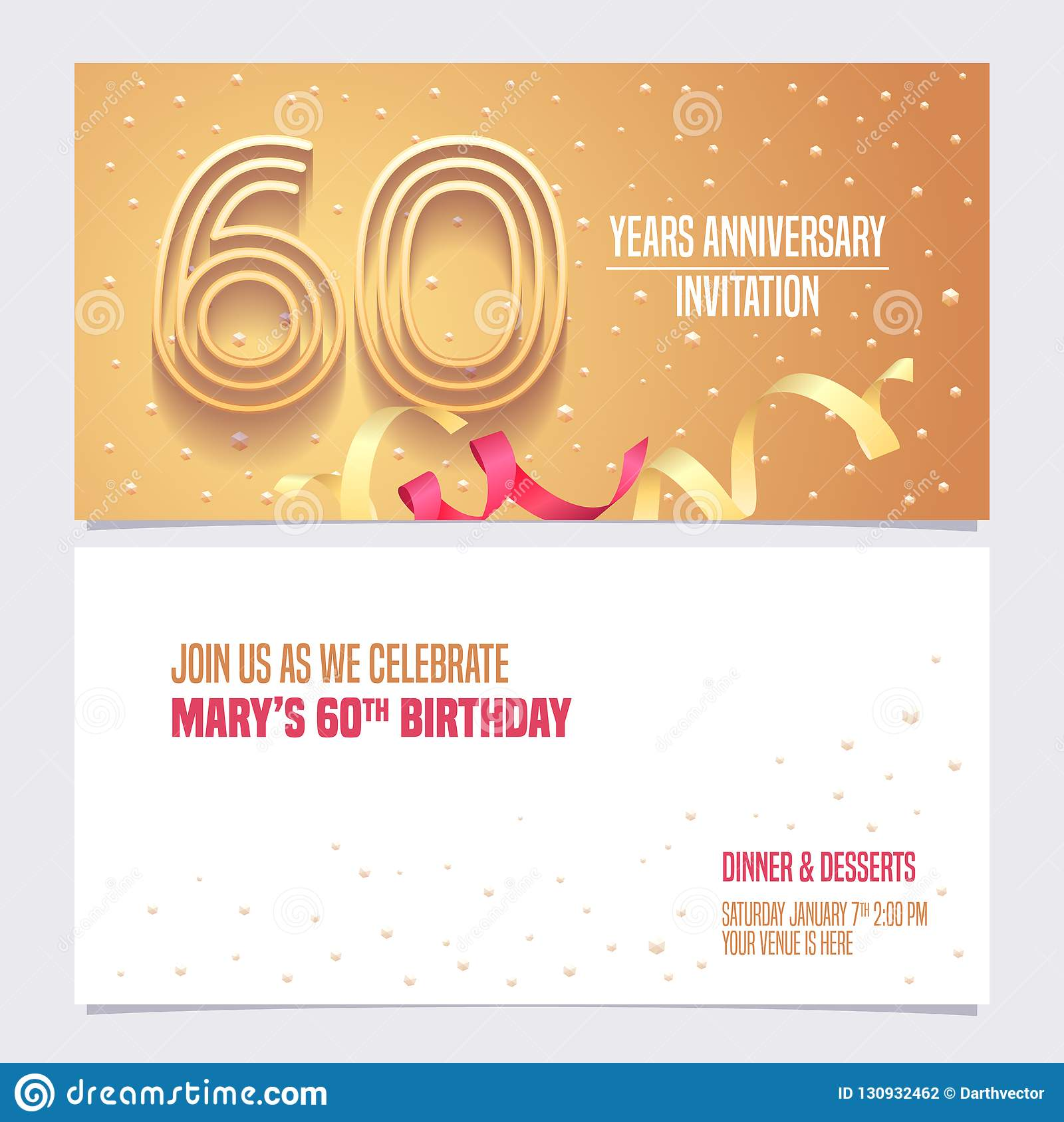 60 Years Anniversary Invitation Vector Illustration Design Element With Golden Abstract Background For 60th Birthday Card Party Invite