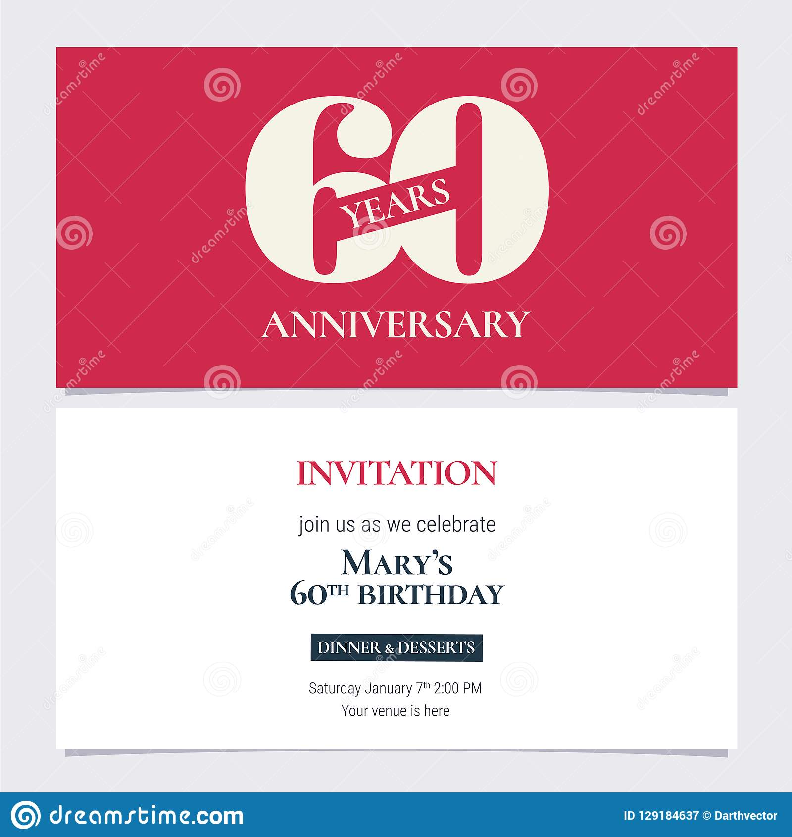 60 Years Anniversary Invitation Vector Illustration Design Template Element With Body Copy For 60th Birthday Card Party Invite