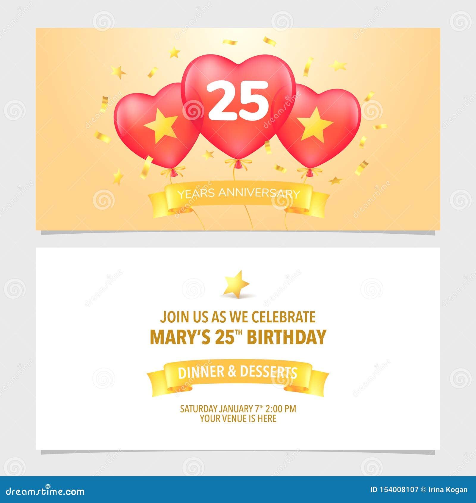 25 Years Anniversary Invitation Vector Illustration Design