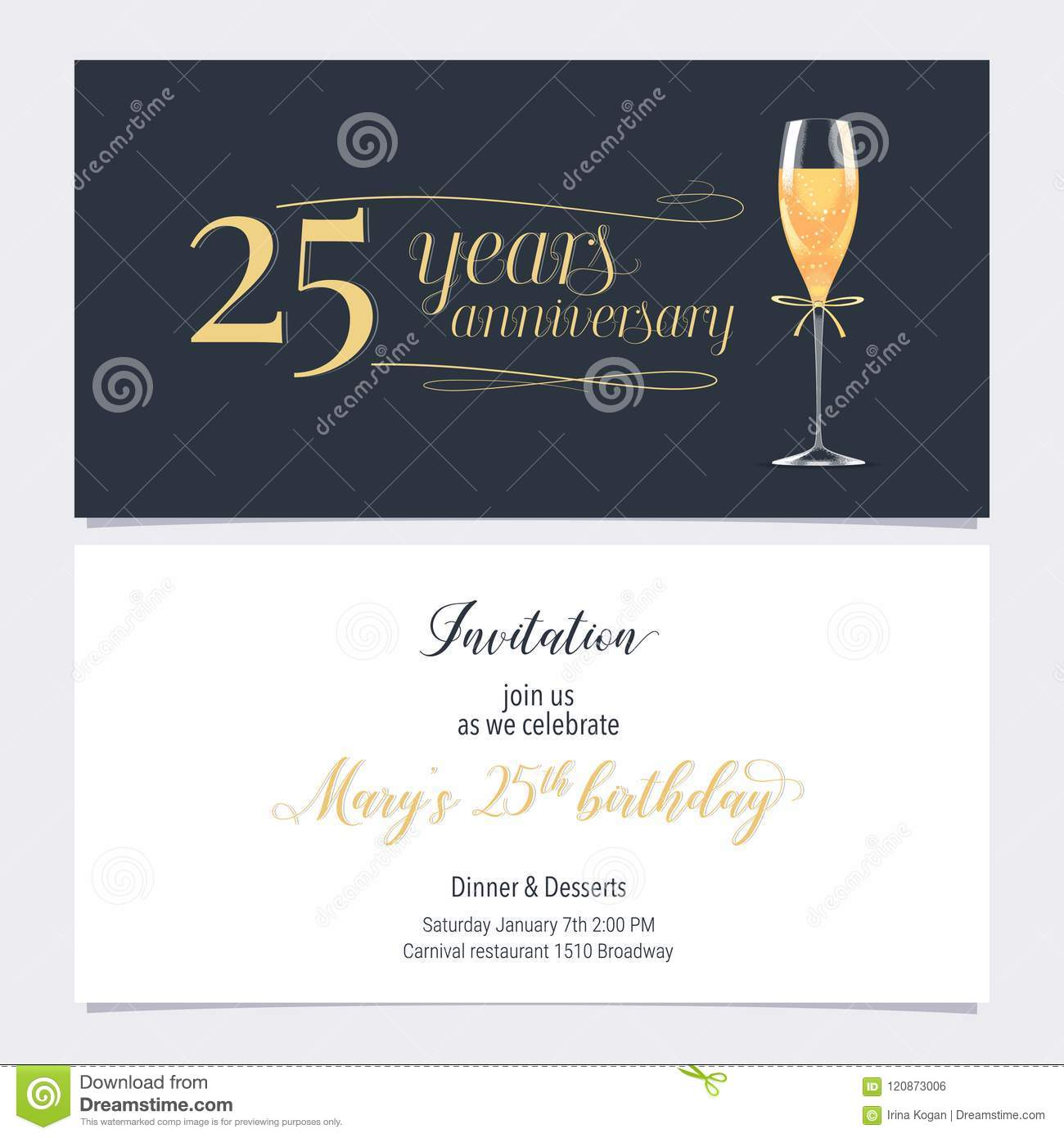 25 Years Anniversary Invitation Vector Illustration Graphic Design Element With Glass Of Champagne For 25th Birthday Card Party Invite