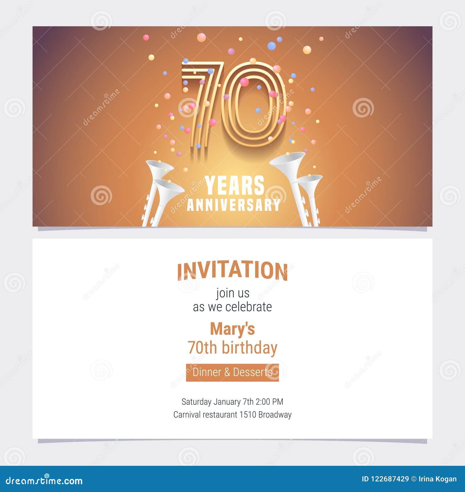 70 Years Anniversary Invitation Vector Stock Vector