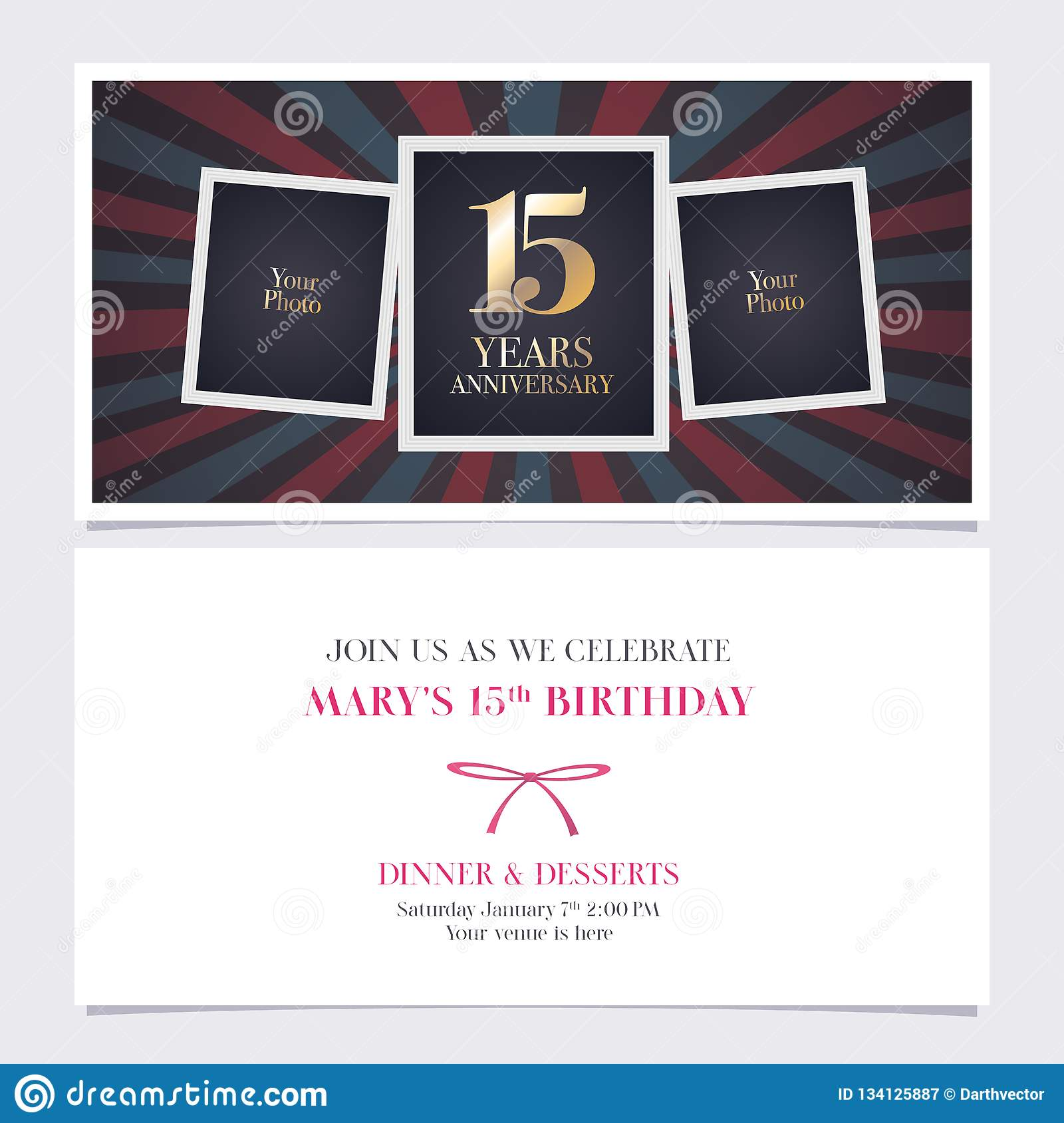 15 Years Anniversary Invitation Vector Illustration Graphic Design Element With Photo Frame Collage For 15th Birthday Card Party Invite