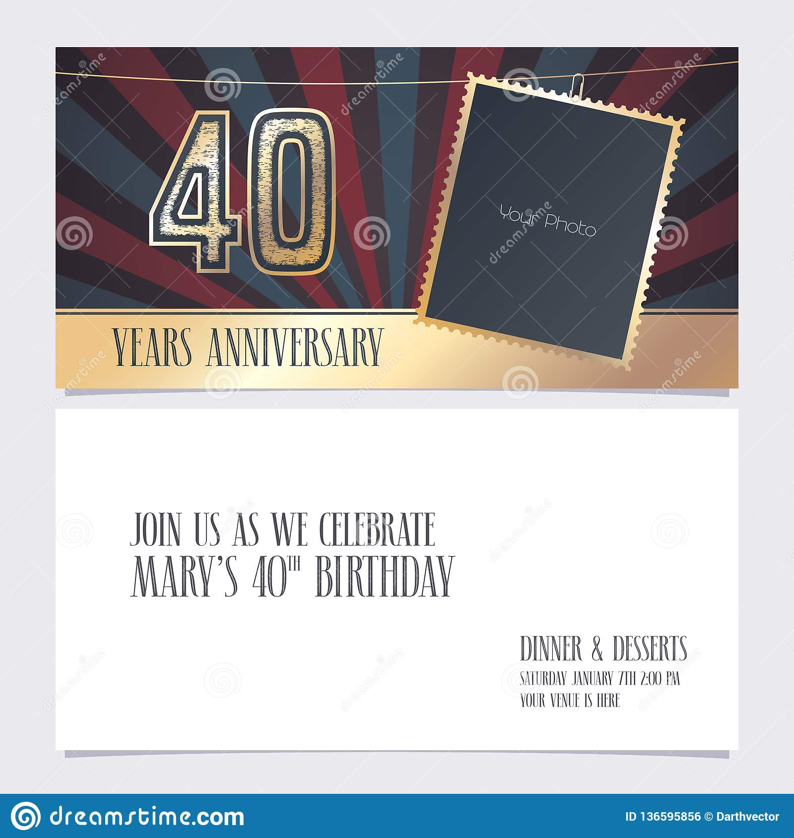 40 Years Anniversary Invitation Vector Illustration Graphic Design Element With Photo Frame For 40th Birthday Card Party Invite