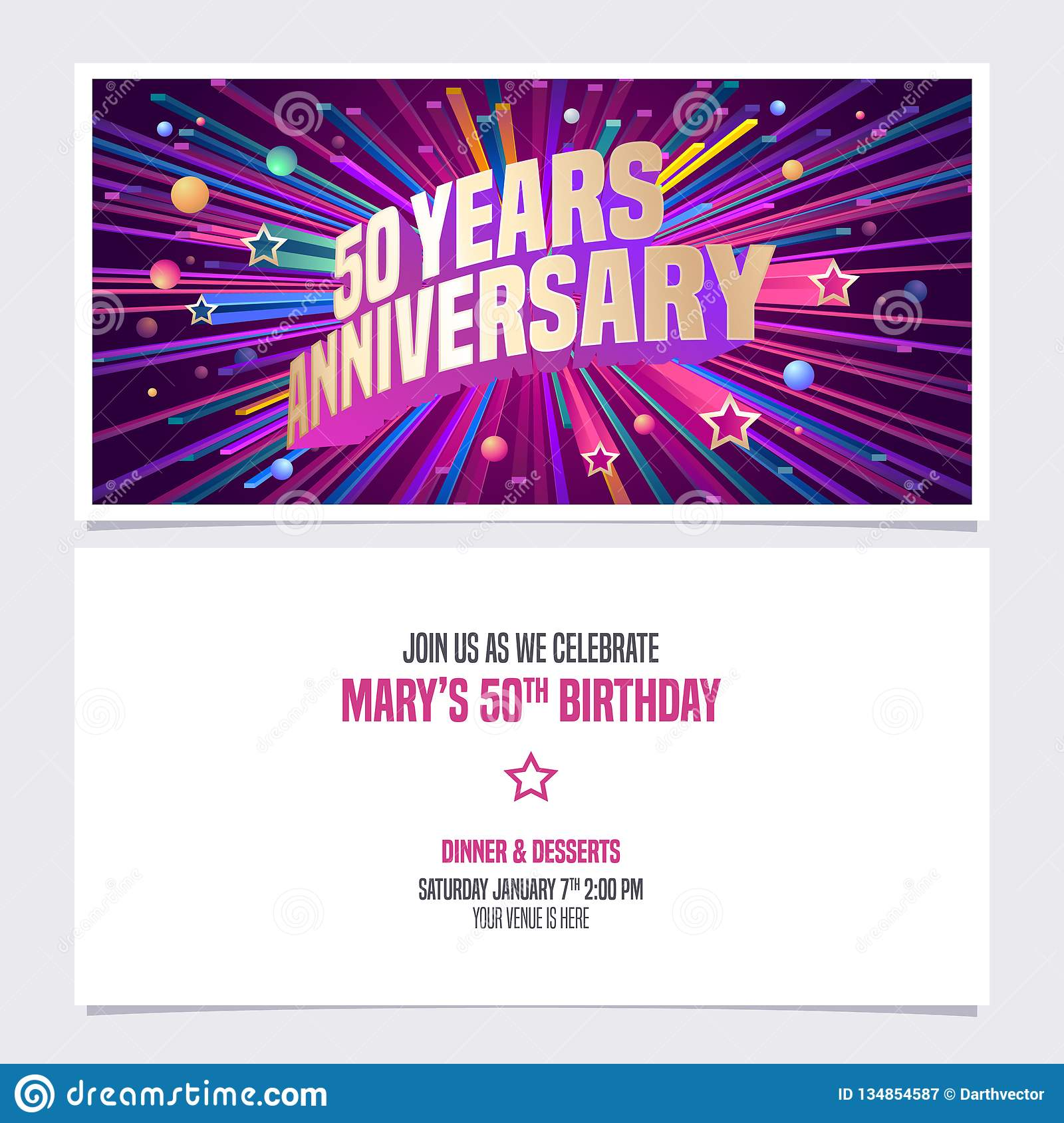 50 Years Anniversary Invitation Vector Illustration Graphic Design Element With Bright Fireworks For 50th Birthday Card Party Invite