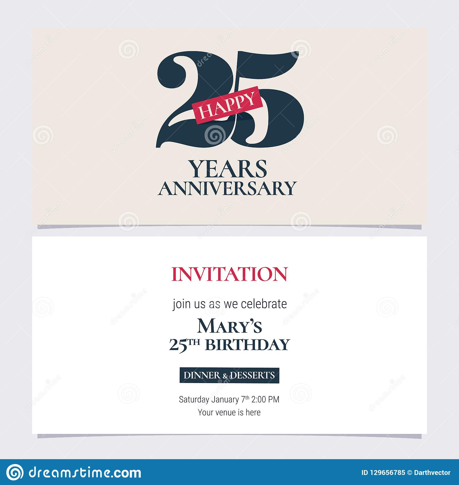 25 Years Anniversary Invitation Vector Illustration Graphic Design Template With Elegant Logo For 25th Party Or Dinner Invite