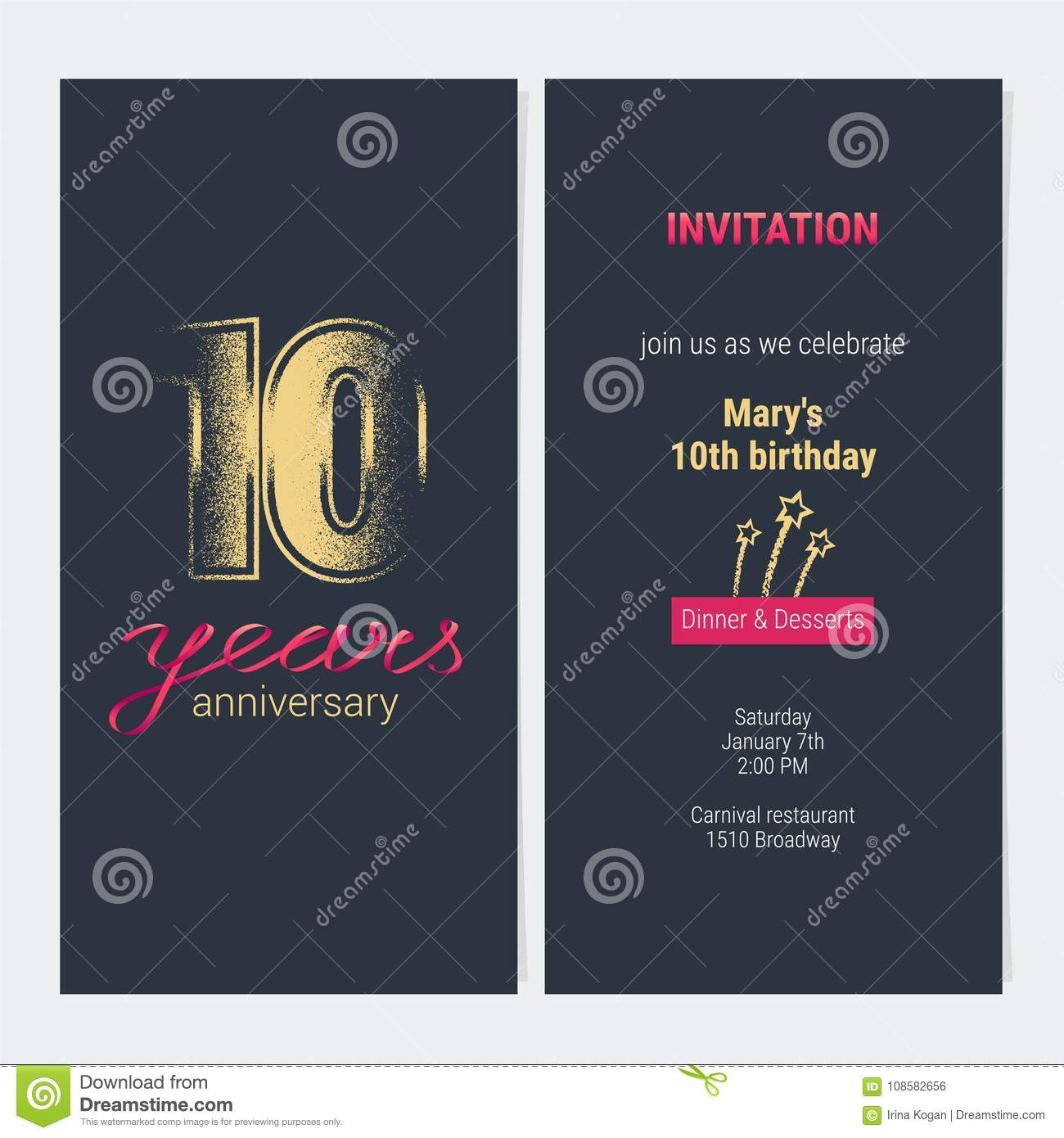 10 Years Anniversary Invitation Vector Card Stock Vector