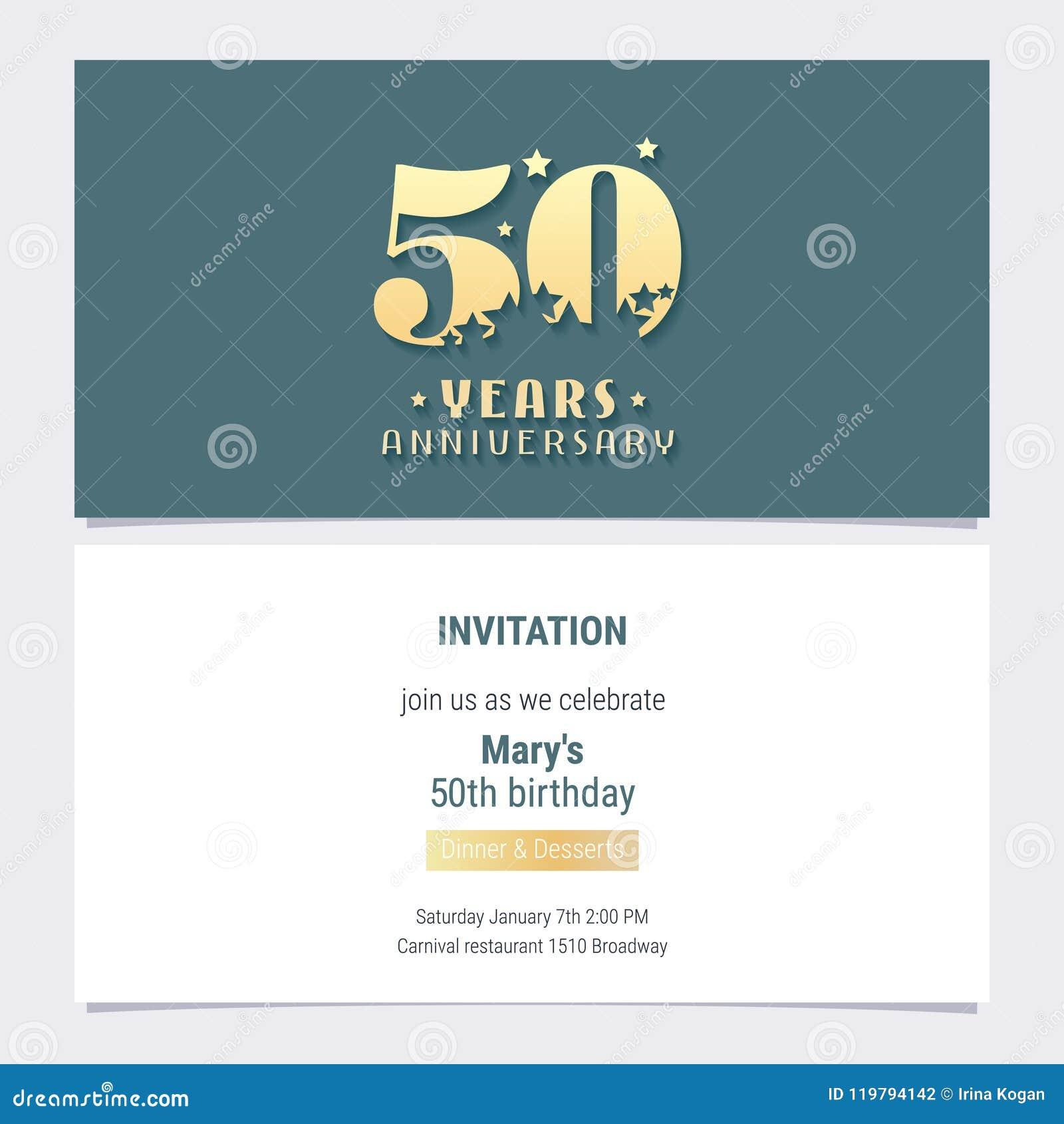 50 Years Anniversary Invitation Vector Stock