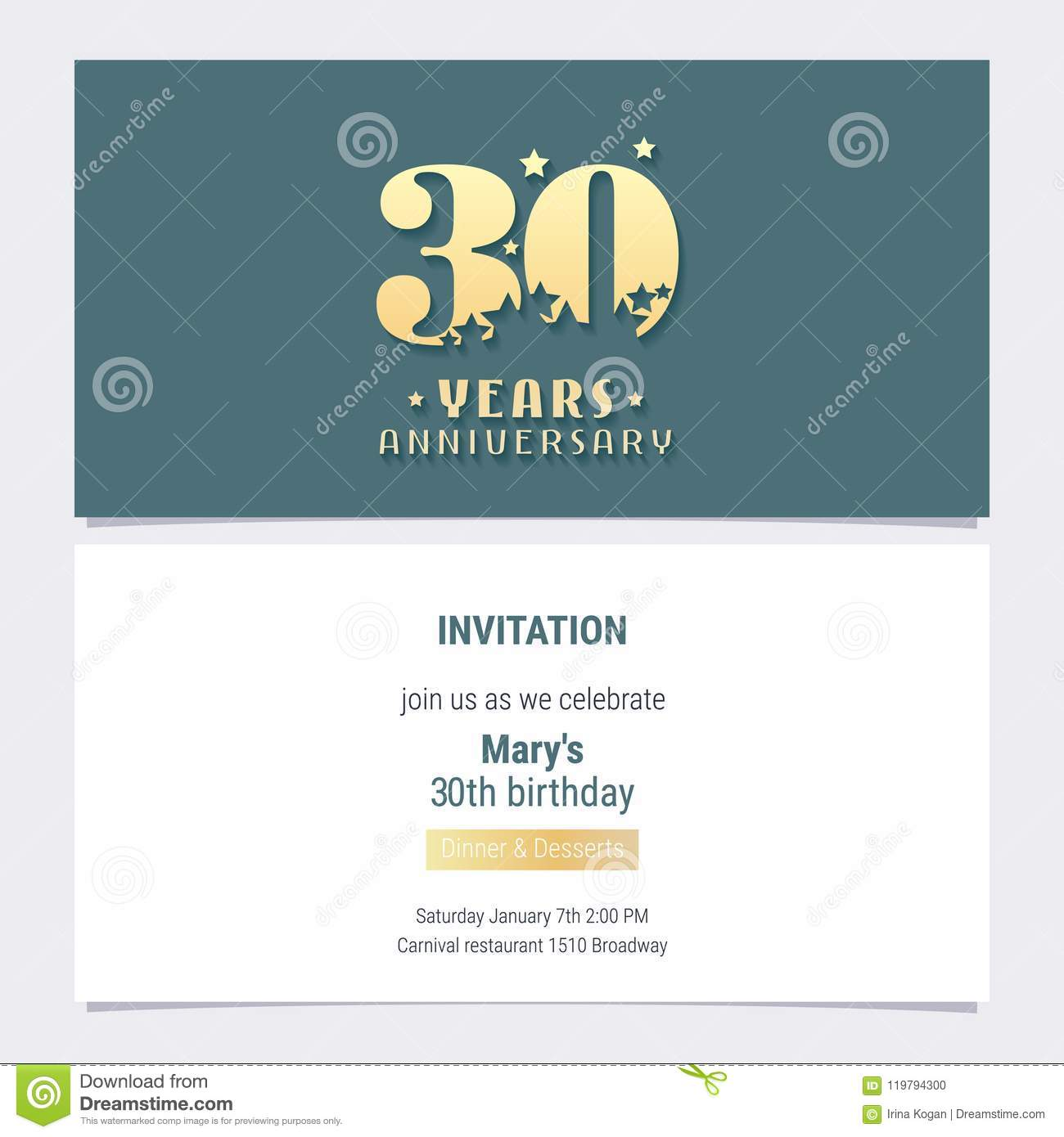30 Years Anniversary Invitation Vector Illustration Template Design Element For 30th Birthday Card Party Invite