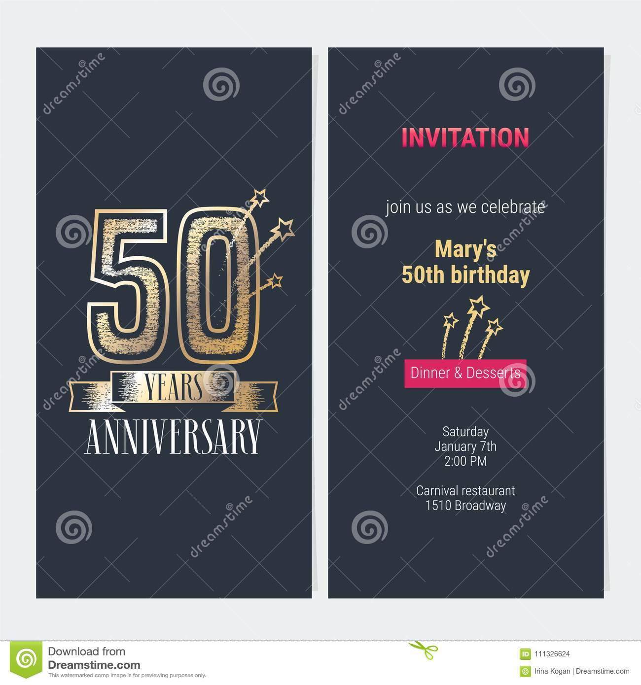 50 years anniversary invitation vector stock vector illustration download 50 years anniversary invitation vector stock vector illustration of flyer greeting 111326624 stopboris Gallery