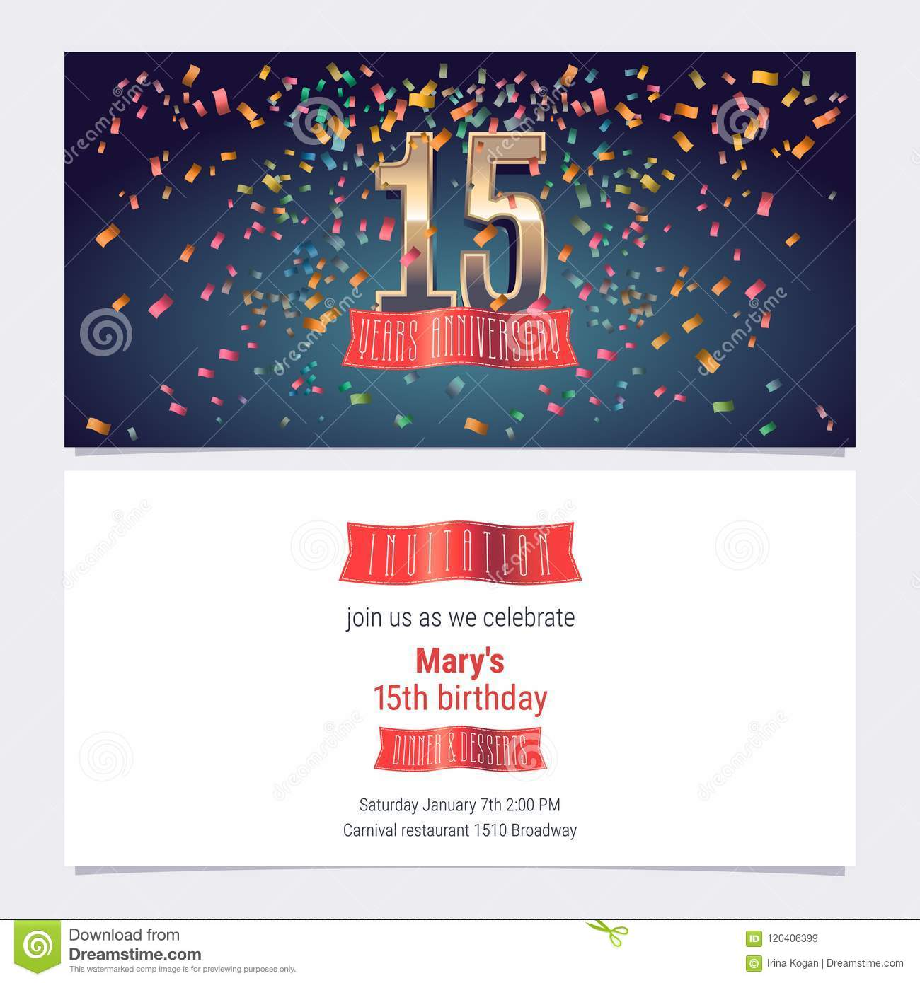 15 years anniversary invitation vector stock vector illustration download 15 years anniversary invitation vector stock vector illustration of flyer element 120406399 stopboris Gallery