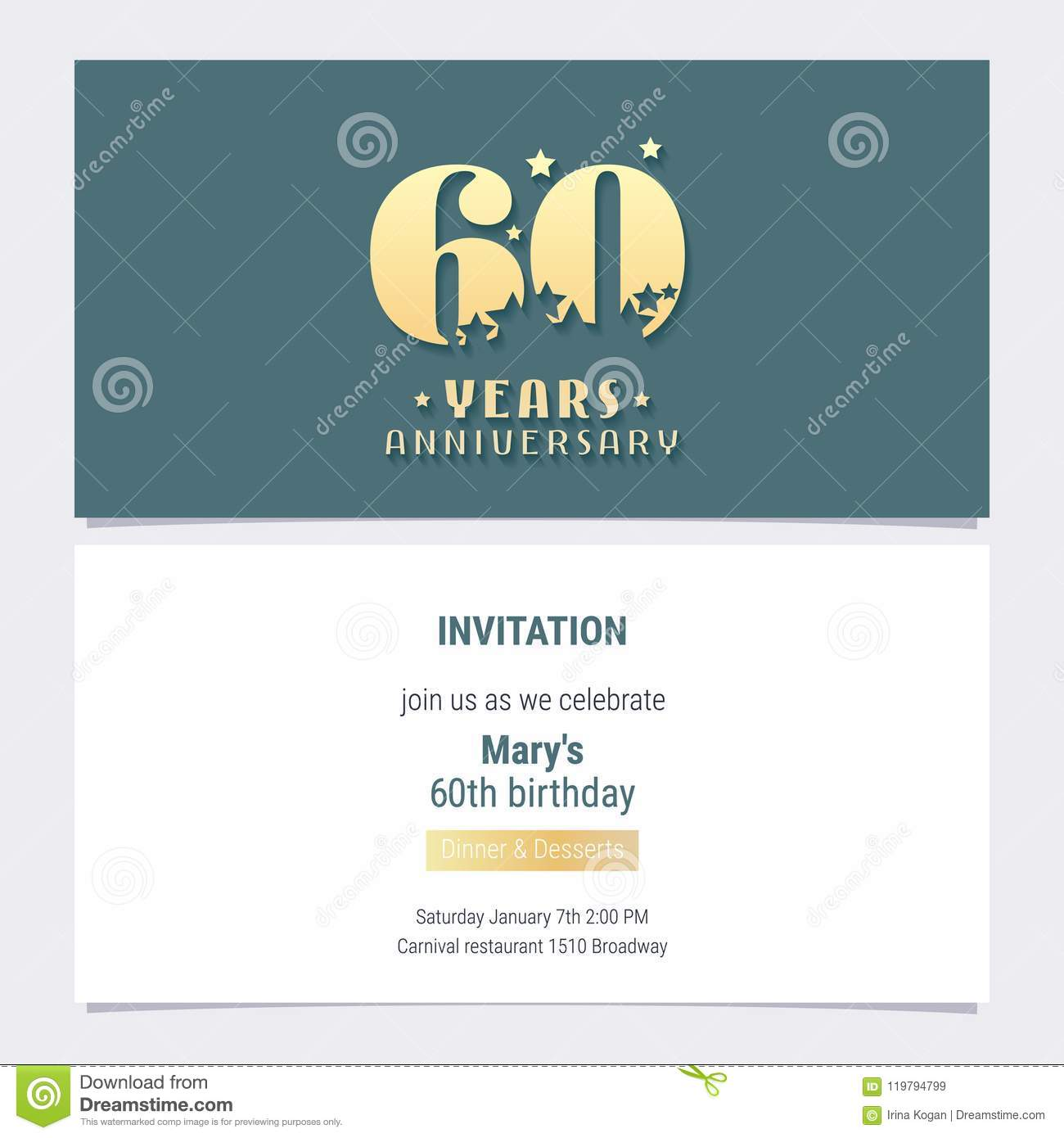 60 Years Anniversary Invitation Vector Illustration Template Design Element For 60th Birthday Card Party Invite