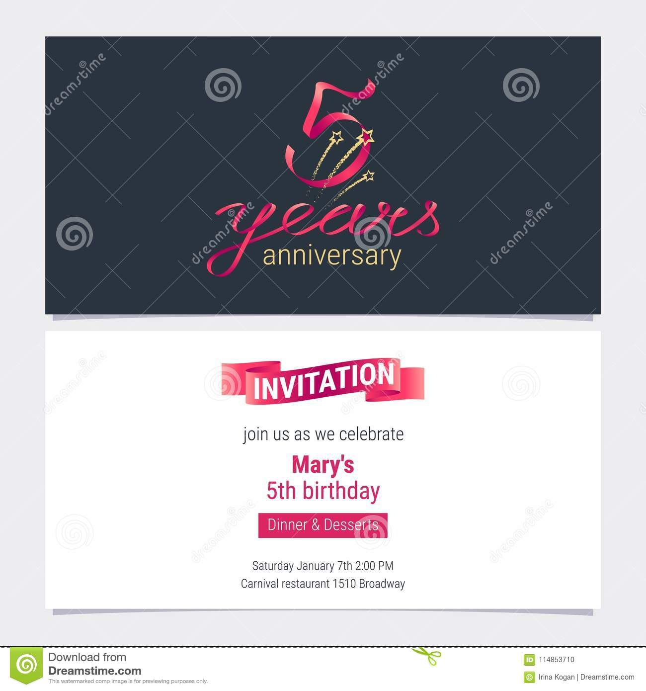 5 Years Anniversary Invite Vector Illustration Graphic Design Element For 5th Birthday Card Party Invitation