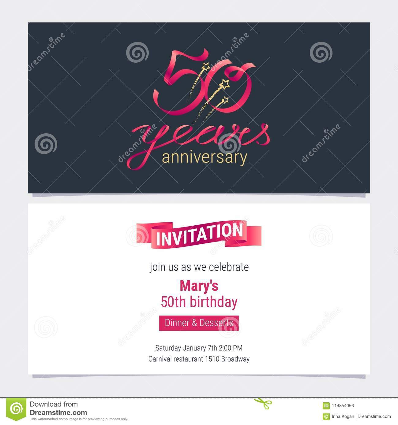 50 Years Anniversary Invite Vector Illustration Graphic Design Element For 50th Birthday Card Party Invitation