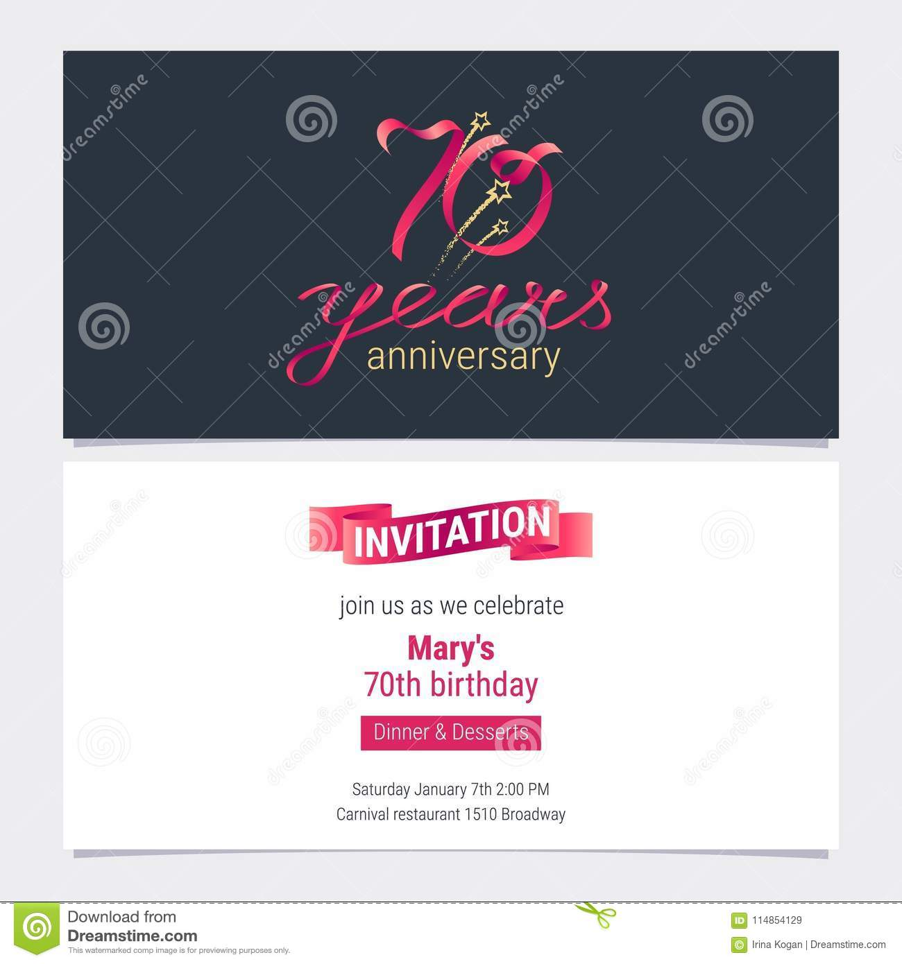70 Years Anniversary Invite Vector Illustration Graphic Design Element For 70th Birthday Card Party Invitation