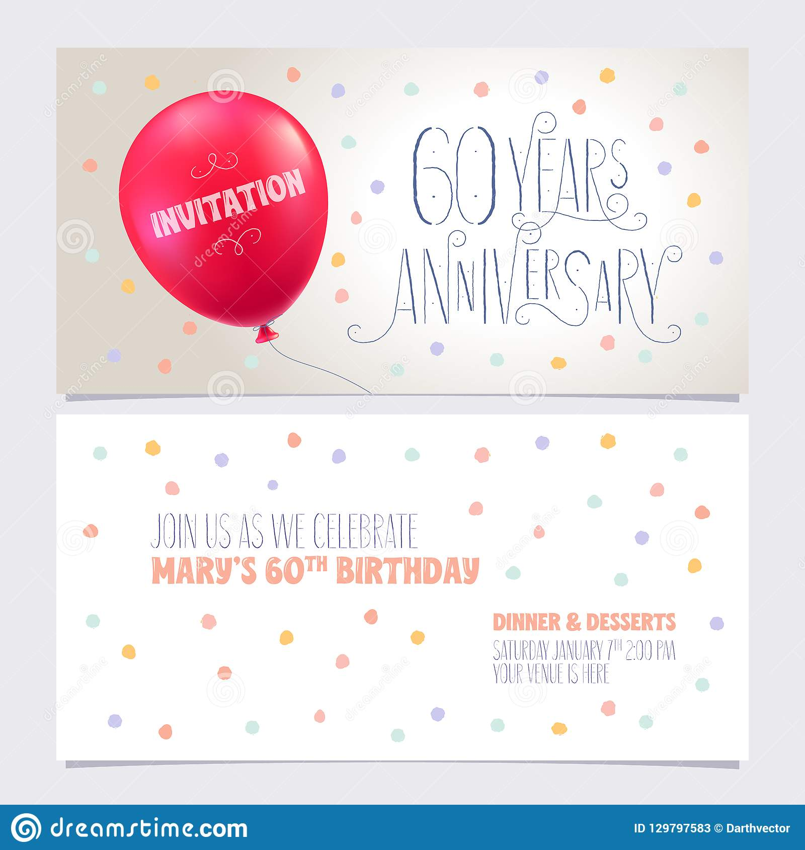 60 Years Anniversary Invite Vector Illustration Graphic Design Element With Air Balloon For 60th Birthday Card Party Invitation