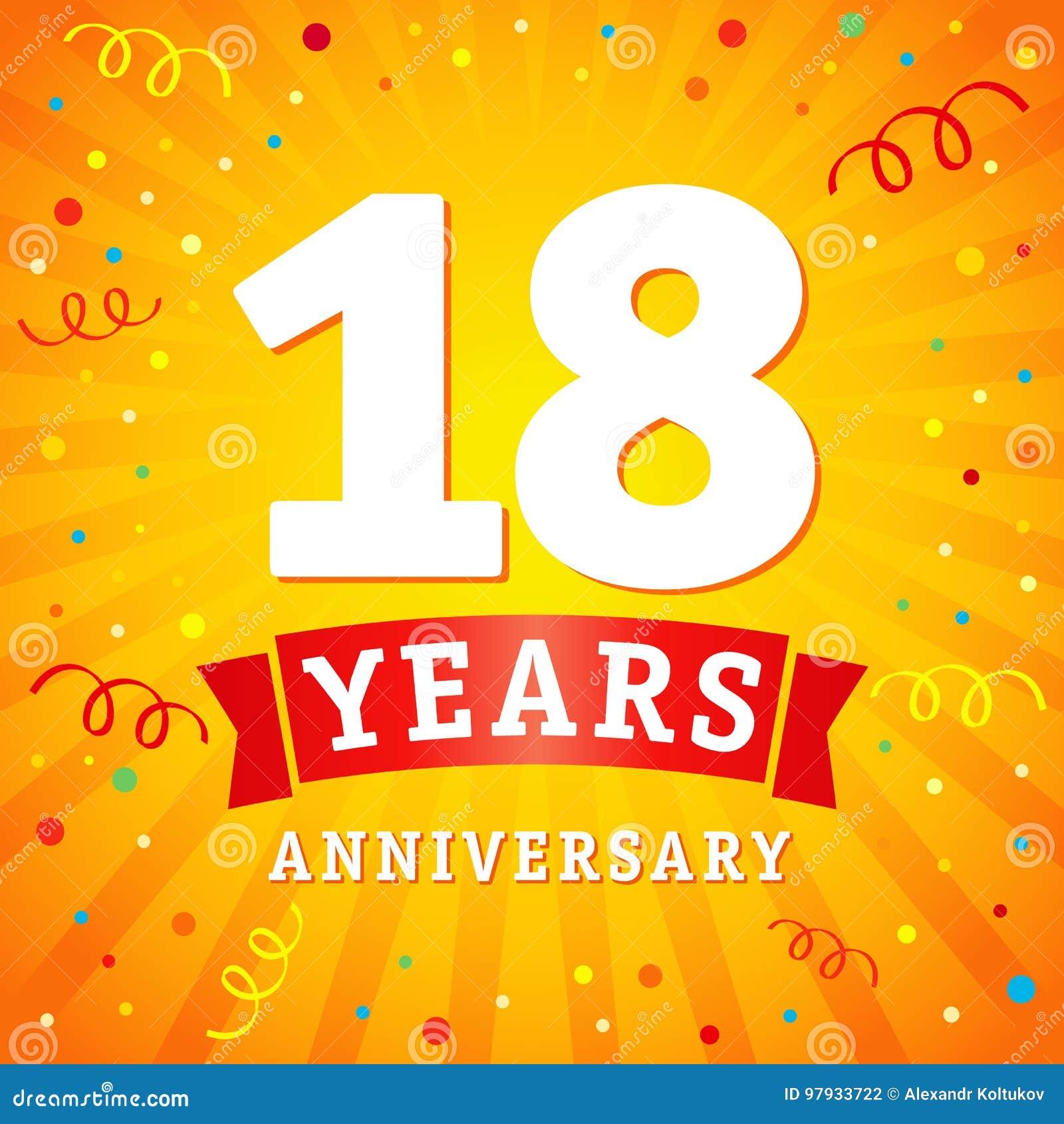 18 years anniversary logo celebration card stock vector