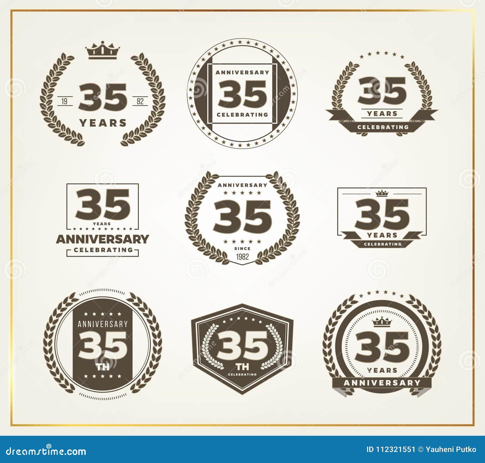 35 Years Anniversary Logo Set Stock Vector Illustration Of Logo