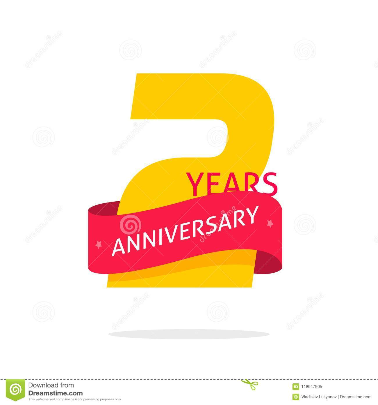 2 Years Anniversary Logo Template Isolated On White Number Icon Label With Red Ribbon Two Year