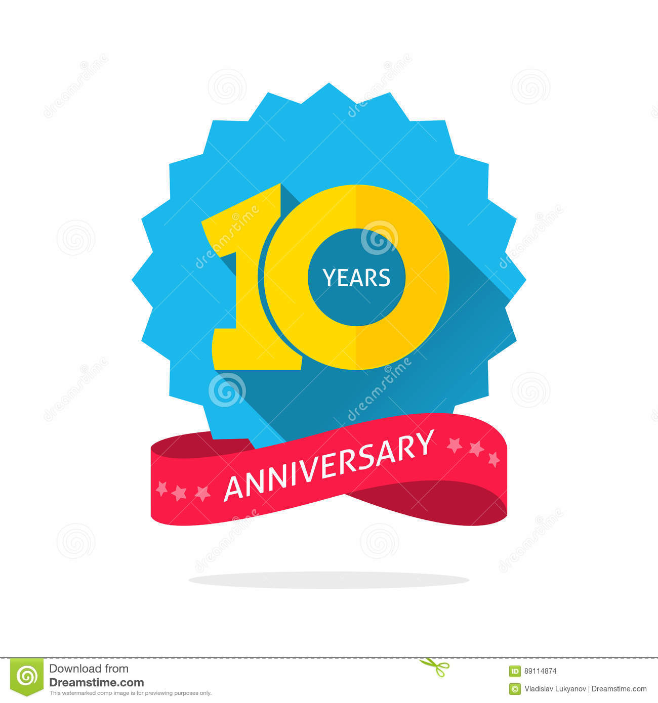10 Years Anniversary Logo Template With Shadow On Blue