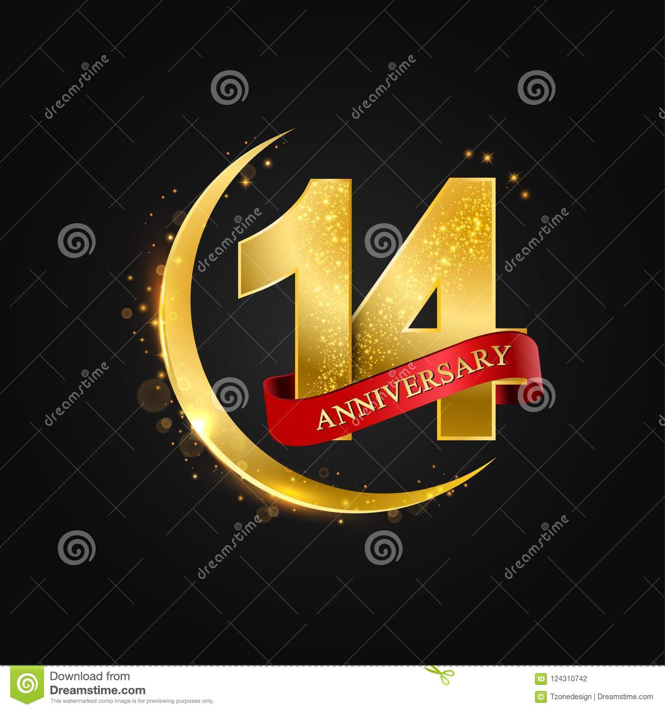 14 Years Anniversaryttern With Arabic Golden Gold Half Moon And