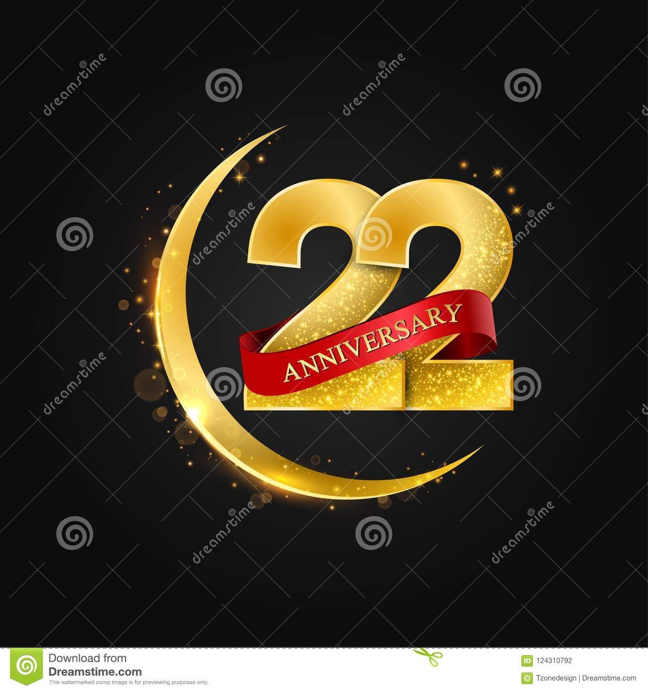22 years anniversary pattern with arabic golden gold half moon and