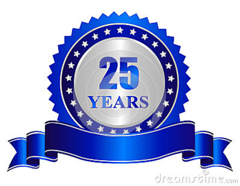 25 years anniversary seal stamp with banner stock