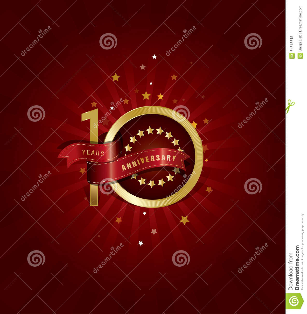 10 years anniversary template design with red abstract