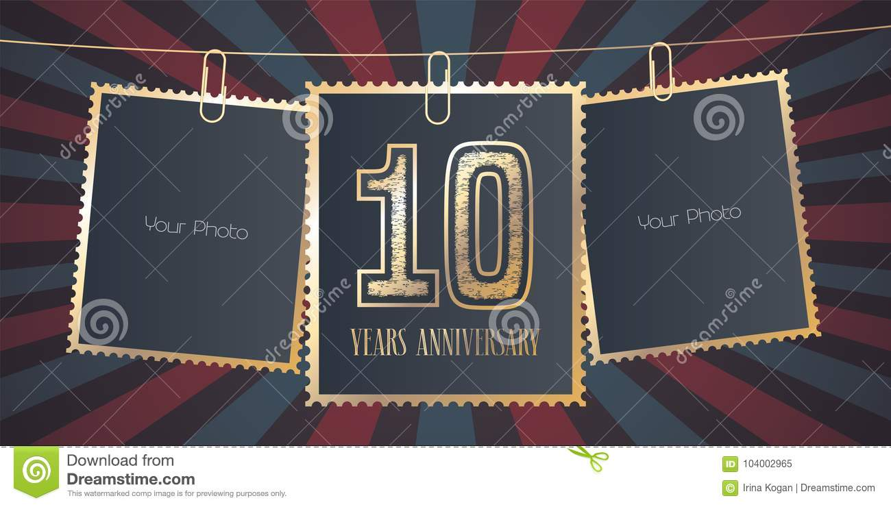 10 Years Anniversary Vector Emblem Logo Stock Vector Illustration