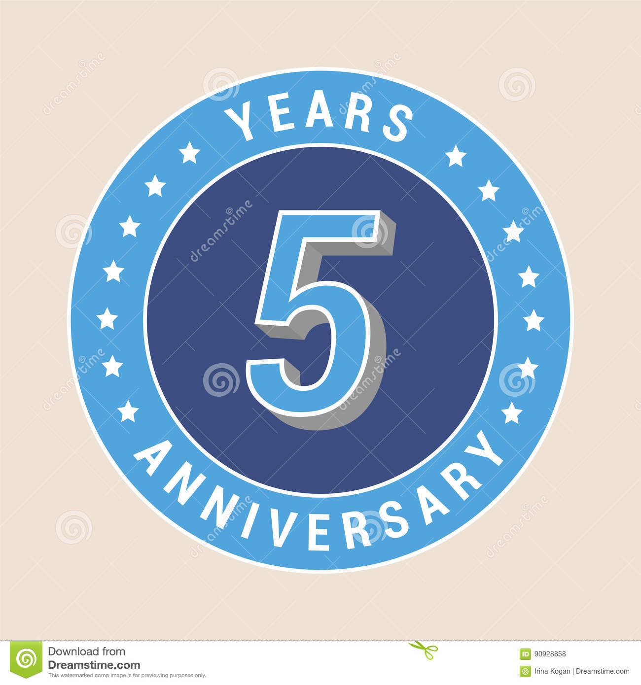 5 Years Anniversary Vector Icon Emblem Stock Vector Illustration