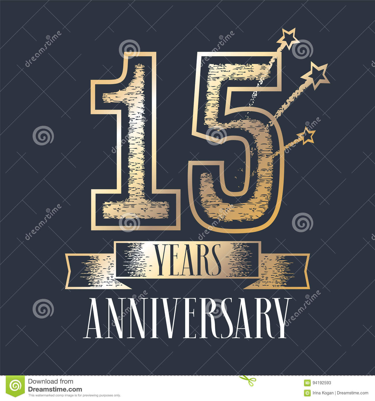 15 Years Anniversary Vector Icon Logo Stock Vector Illustration