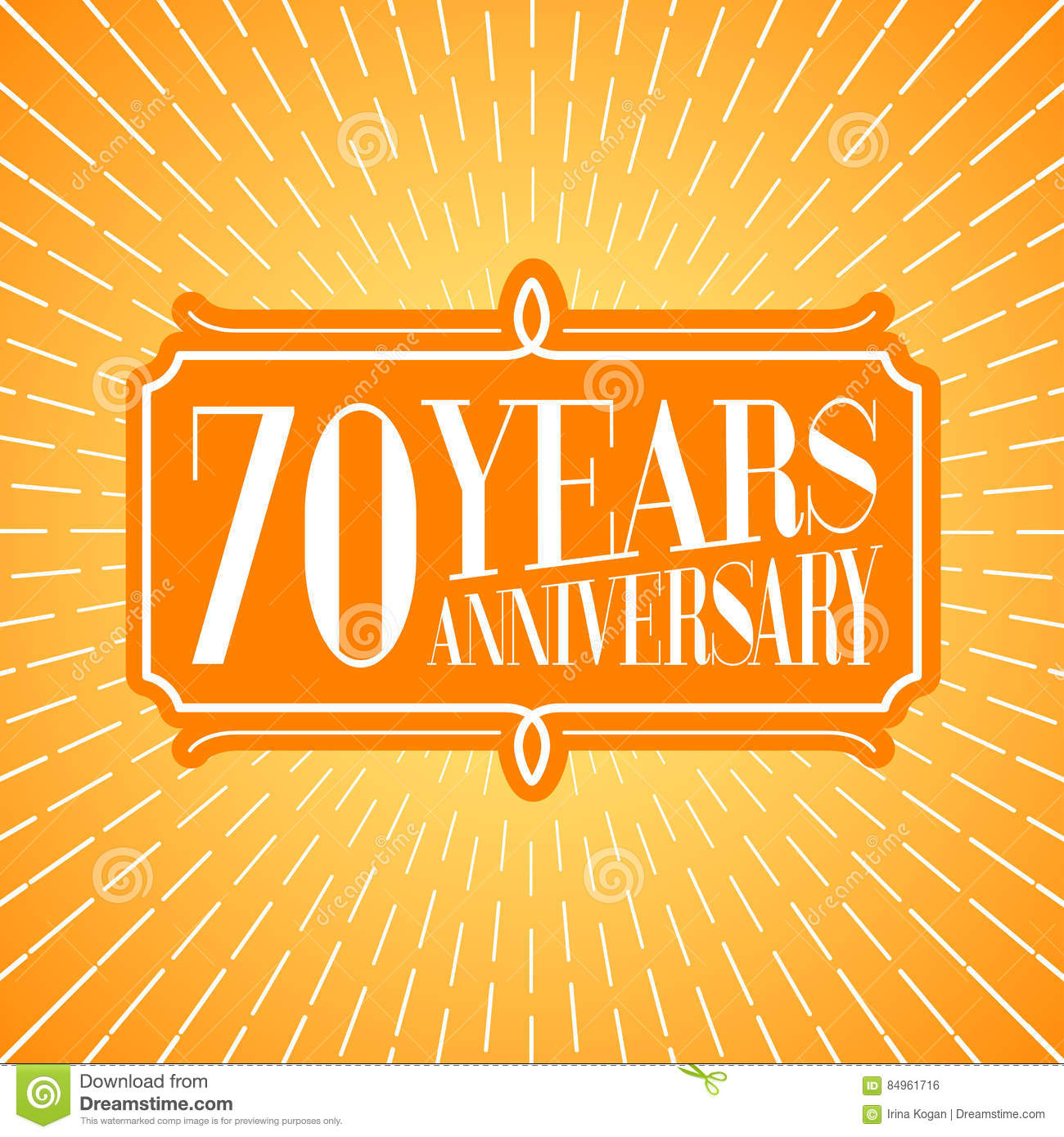 70 Years Anniversary Vector Icon Logo Graphic Design Element For 70th Birthday Greeting Card