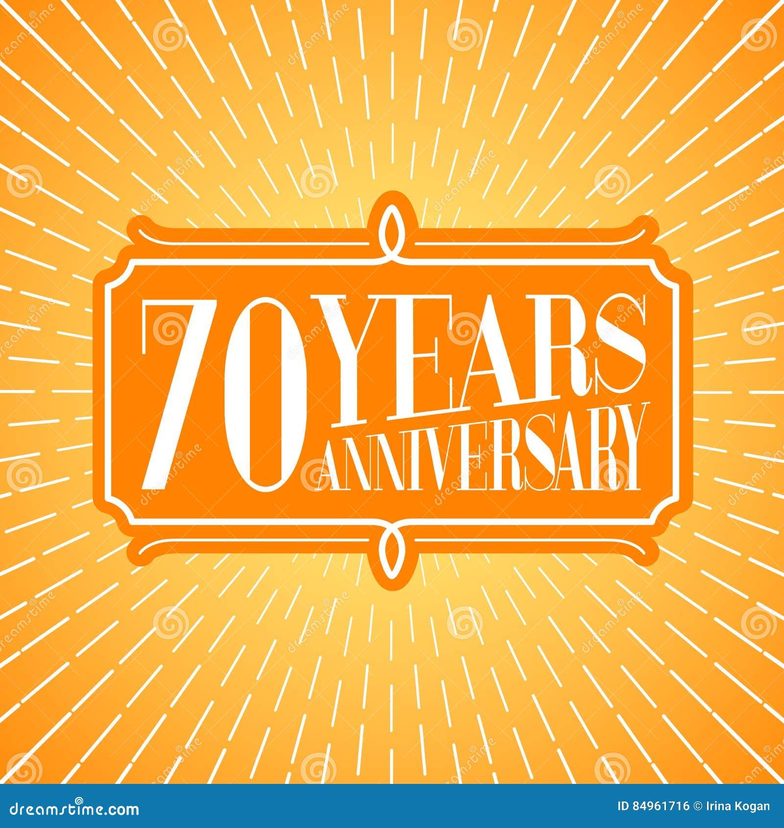 70 Years Anniversary Vector Icon Logo Stock Illustration