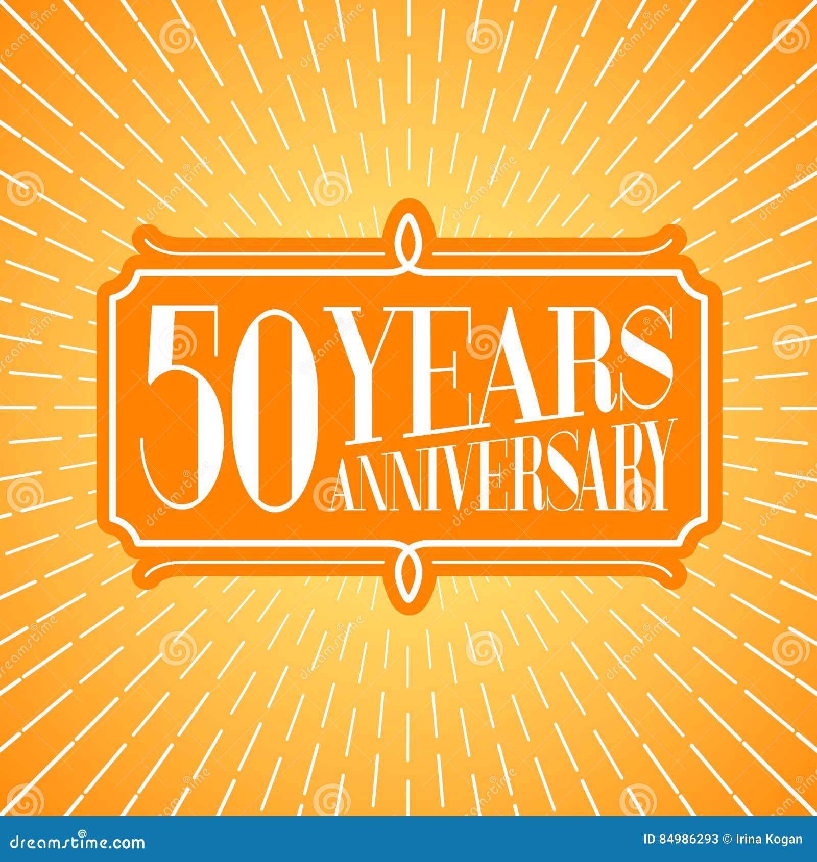 50 Years Anniversary Vector Icon Logo